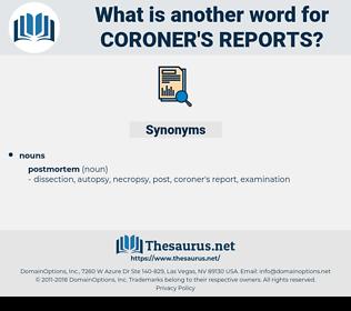 coroner's reports, synonym coroner's reports, another word for coroner's reports, words like coroner's reports, thesaurus coroner's reports