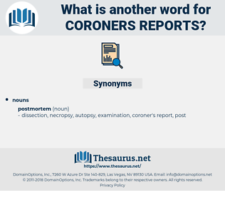 coroners reports, synonym coroners reports, another word for coroners reports, words like coroners reports, thesaurus coroners reports