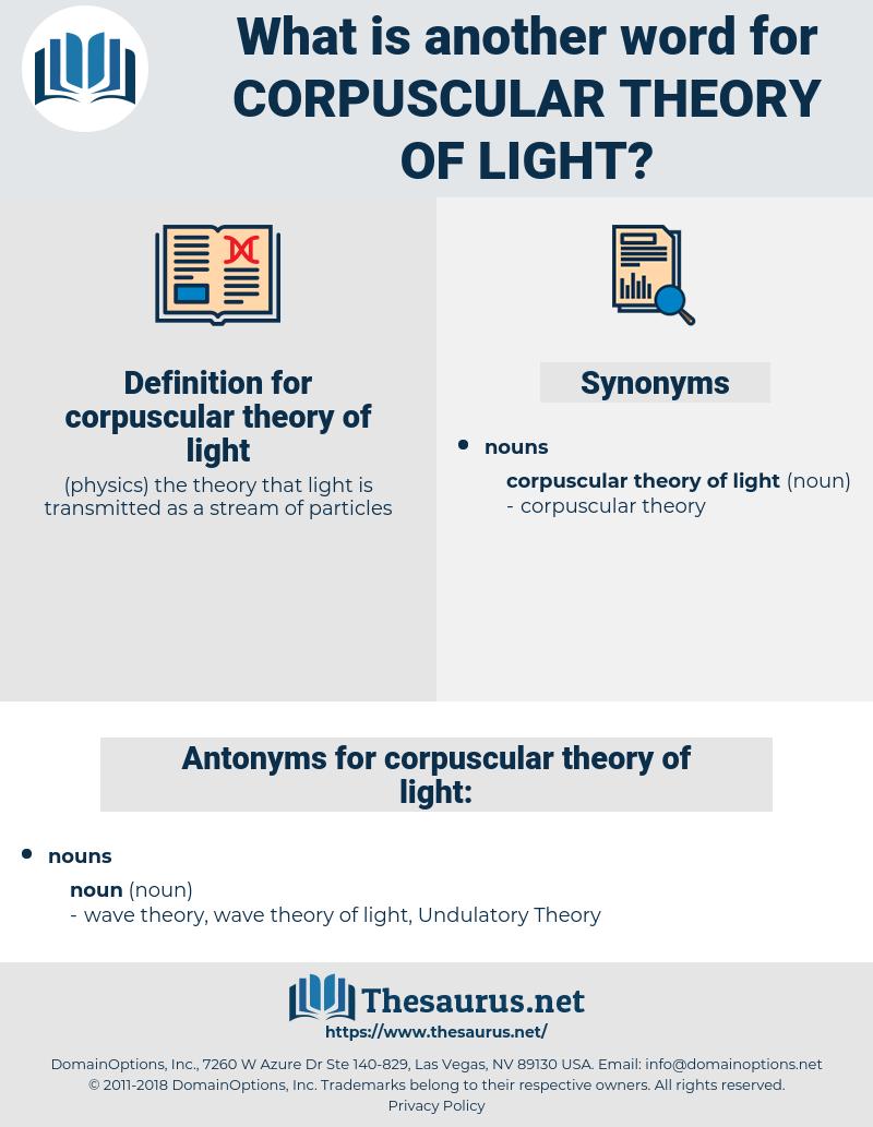 corpuscular theory of light, synonym corpuscular theory of light, another word for corpuscular theory of light, words like corpuscular theory of light, thesaurus corpuscular theory of light