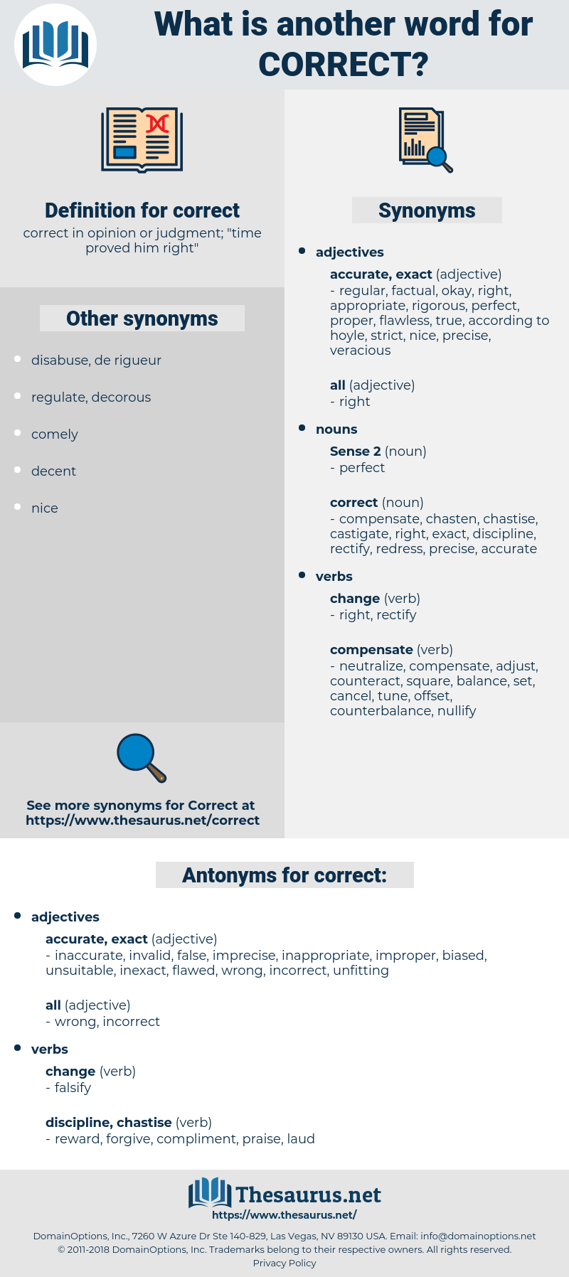 Synonyms for CORRECT, Antonyms for CORRECT - Thesaurus net
