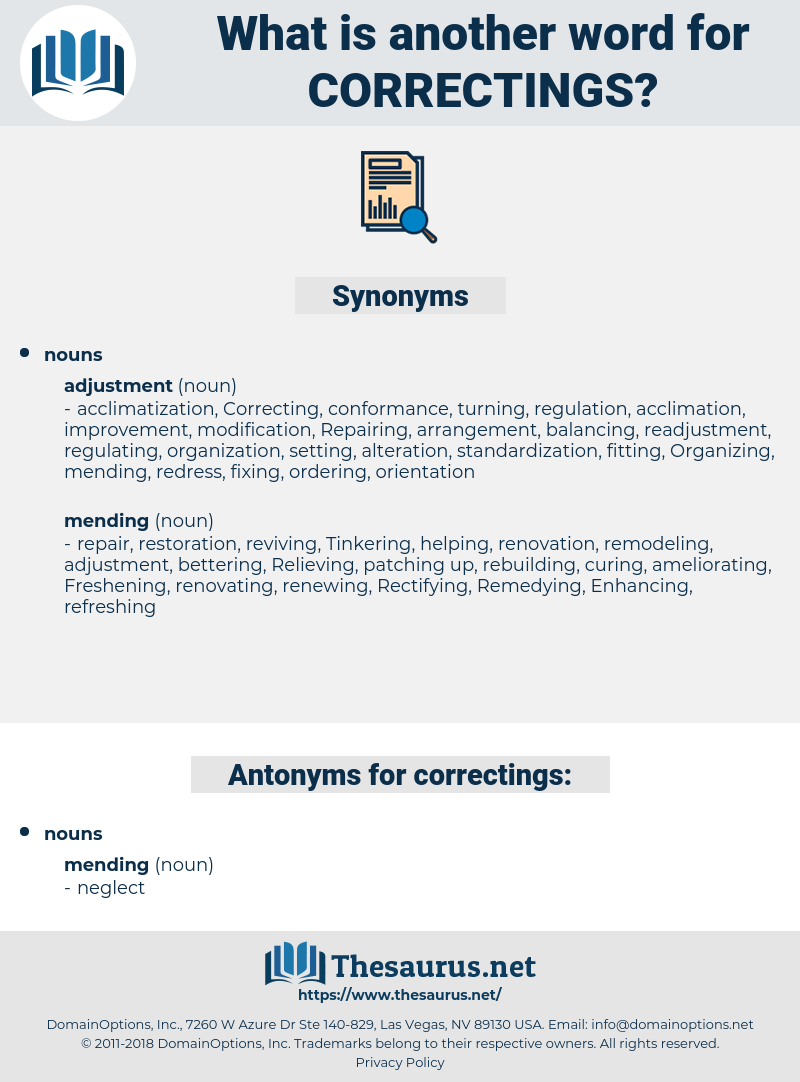 correctings, synonym correctings, another word for correctings, words like correctings, thesaurus correctings