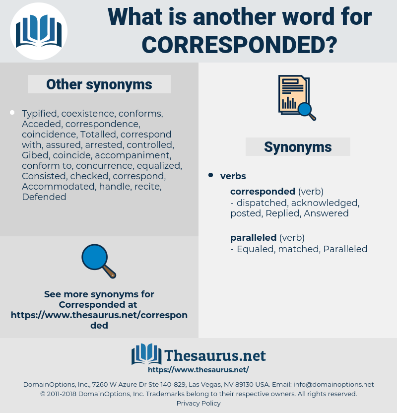 Corresponded, synonym Corresponded, another word for Corresponded, words like Corresponded, thesaurus Corresponded