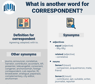 correspondent, synonym correspondent, another word for correspondent, words like correspondent, thesaurus correspondent