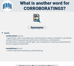 corroboratings, synonym corroboratings, another word for corroboratings, words like corroboratings, thesaurus corroboratings