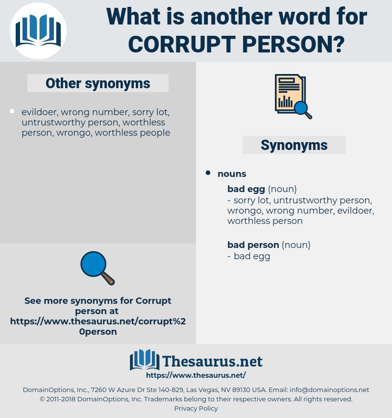 corrupt person, synonym corrupt person, another word for corrupt person, words like corrupt person, thesaurus corrupt person