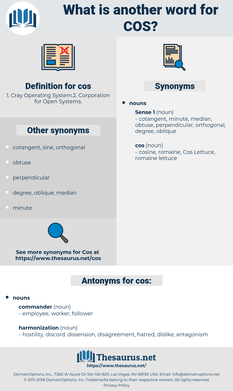 cos, synonym cos, another word for cos, words like cos, thesaurus cos
