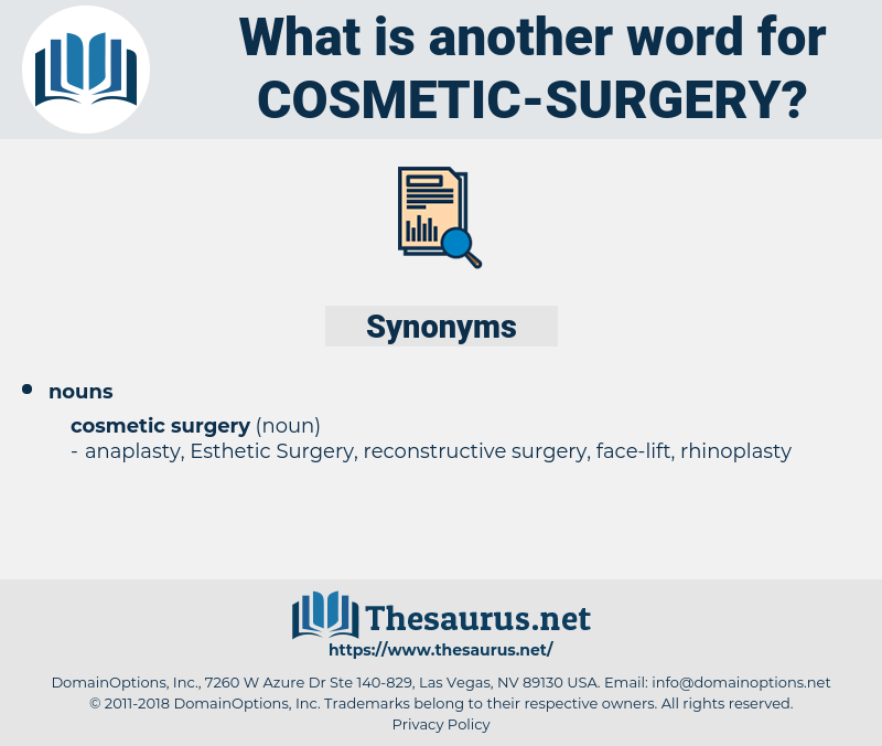 cosmetic surgery, synonym cosmetic surgery, another word for cosmetic surgery, words like cosmetic surgery, thesaurus cosmetic surgery