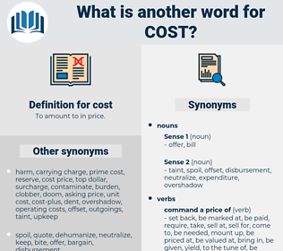 cost, synonym cost, another word for cost, words like cost, thesaurus cost