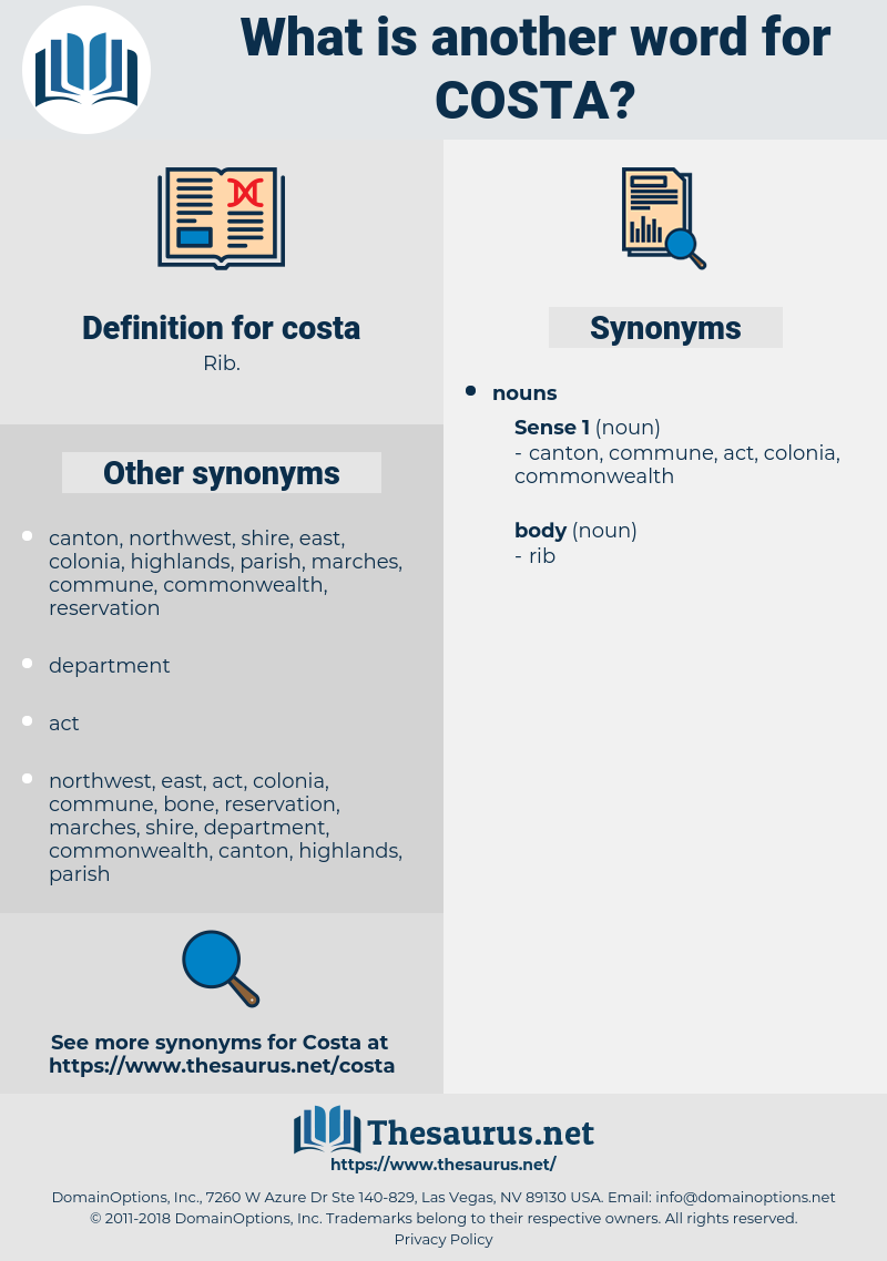 costa, synonym costa, another word for costa, words like costa, thesaurus costa