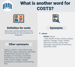 costs, synonym costs, another word for costs, words like costs, thesaurus costs