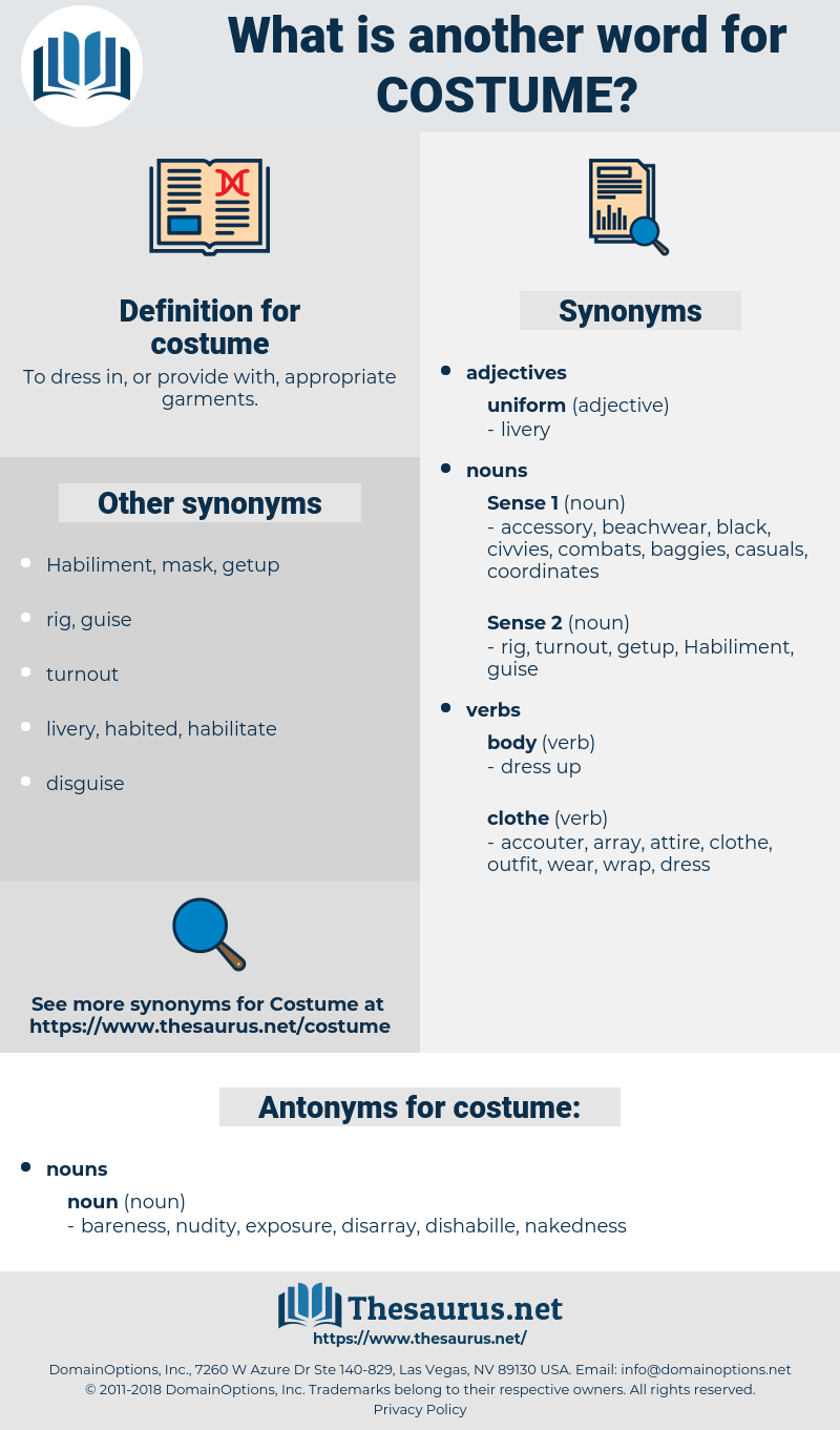 costume, synonym costume, another word for costume, words like costume, thesaurus costume