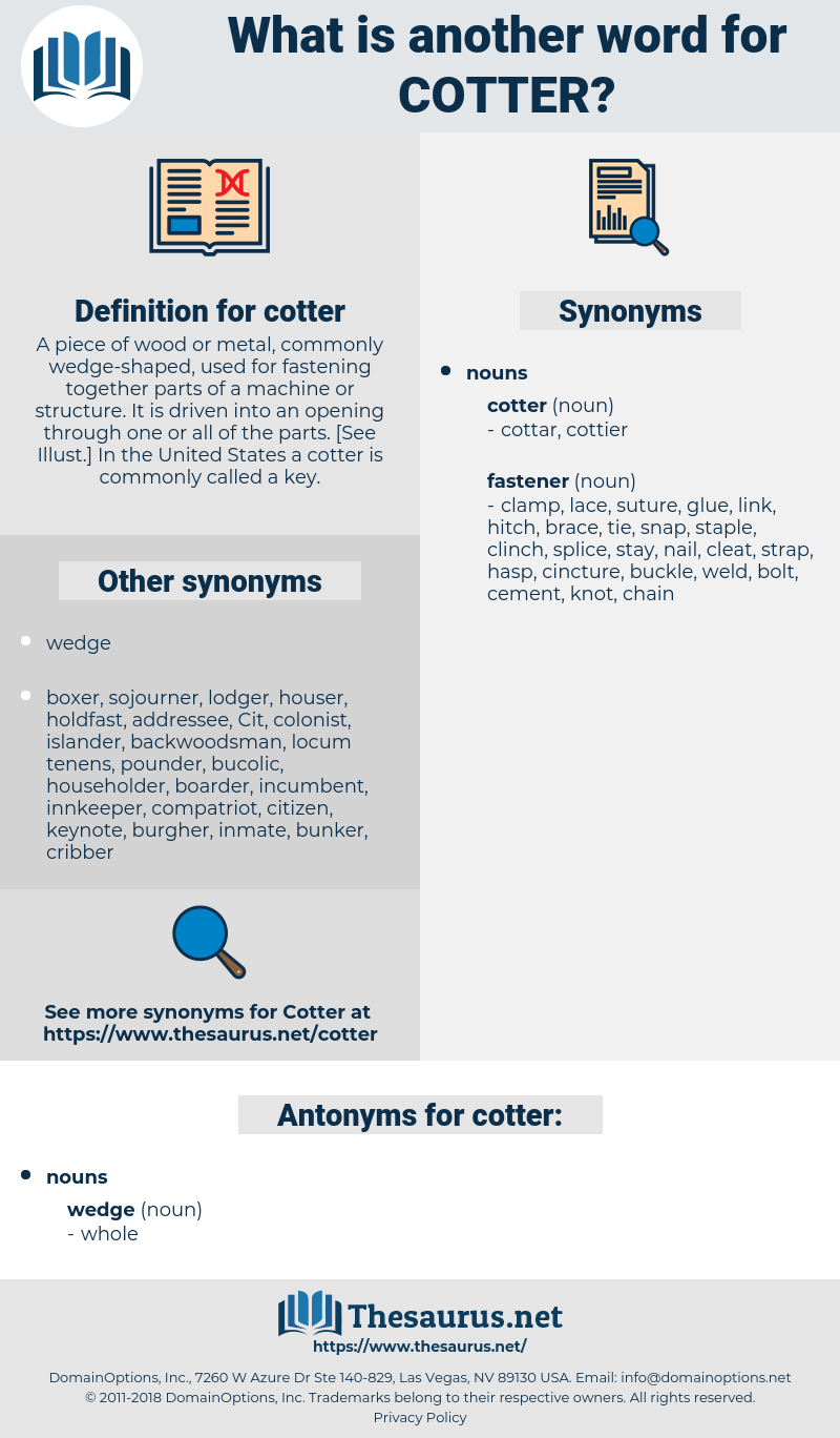 cotter, synonym cotter, another word for cotter, words like cotter, thesaurus cotter
