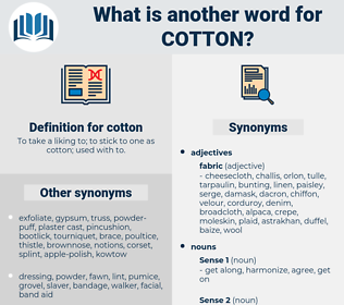 cotton, synonym cotton, another word for cotton, words like cotton, thesaurus cotton