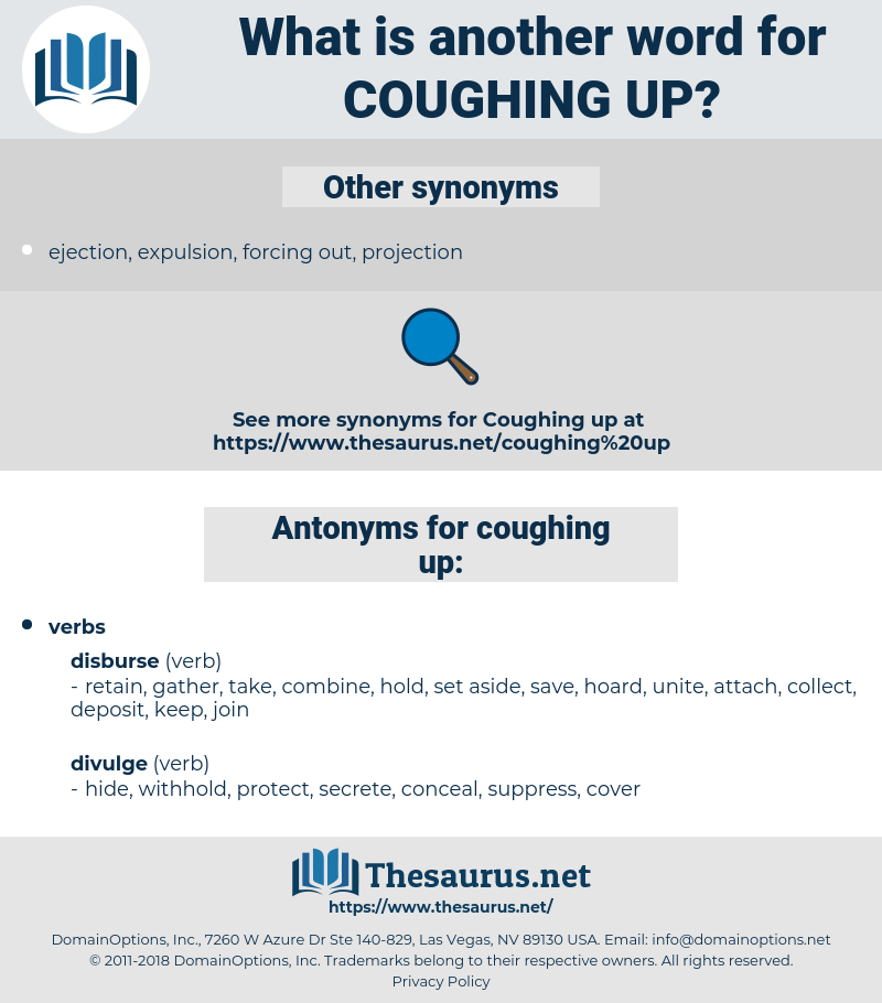 coughing up, synonym coughing up, another word for coughing up, words like coughing up, thesaurus coughing up