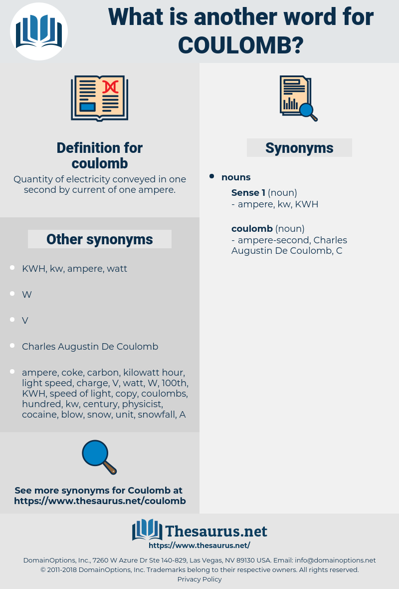 coulomb, synonym coulomb, another word for coulomb, words like coulomb, thesaurus coulomb