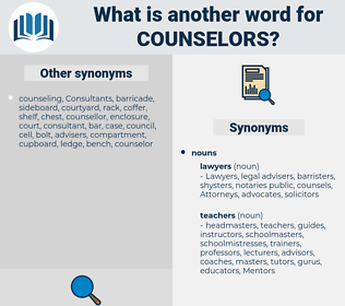 Counselors, synonym Counselors, another word for Counselors, words like Counselors, thesaurus Counselors