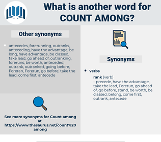 count among, synonym count among, another word for count among, words like count among, thesaurus count among