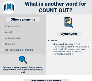 count out, synonym count out, another word for count out, words like count out, thesaurus count out