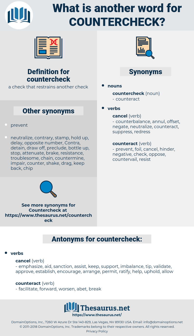 countercheck, synonym countercheck, another word for countercheck, words like countercheck, thesaurus countercheck
