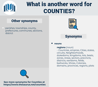 Counties, synonym Counties, another word for Counties, words like Counties, thesaurus Counties