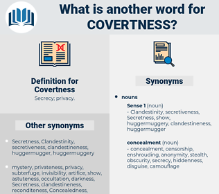 Covertness, synonym Covertness, another word for Covertness, words like Covertness, thesaurus Covertness