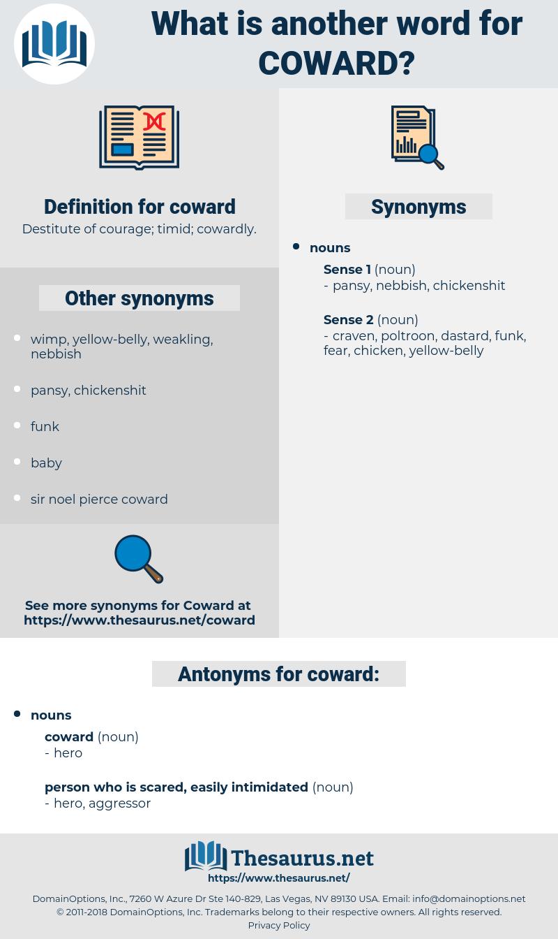coward, synonym coward, another word for coward, words like coward, thesaurus coward