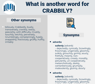 crabbily, synonym crabbily, another word for crabbily, words like crabbily, thesaurus crabbily
