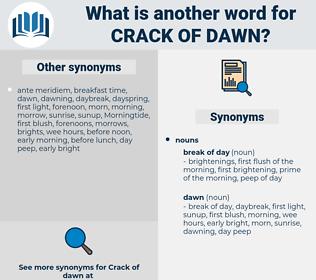 crack of dawn, synonym crack of dawn, another word for crack of dawn, words like crack of dawn, thesaurus crack of dawn