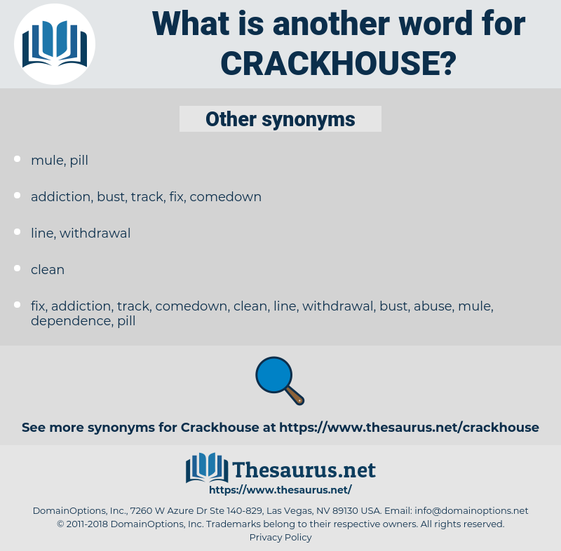Synonyms for CRACKHOUSE - Thesaurus net