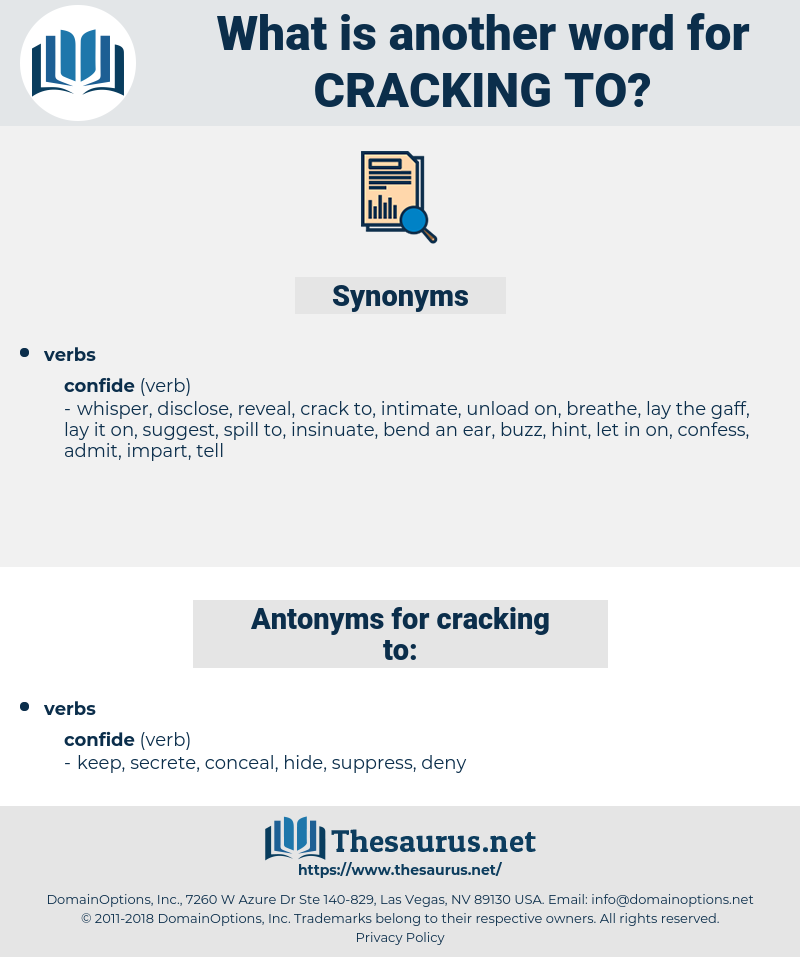 cracking to, synonym cracking to, another word for cracking to, words like cracking to, thesaurus cracking to
