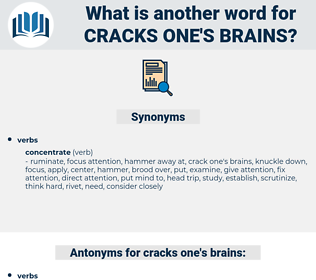cracks one's brains, synonym cracks one's brains, another word for cracks one's brains, words like cracks one's brains, thesaurus cracks one's brains