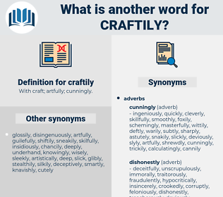 craftily, synonym craftily, another word for craftily, words like craftily, thesaurus craftily