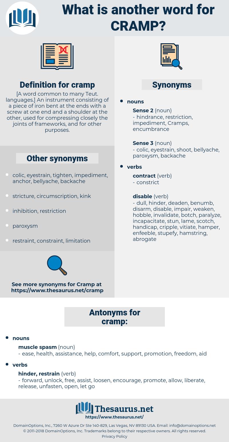 cramp, synonym cramp, another word for cramp, words like cramp, thesaurus cramp