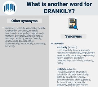 crankily, synonym crankily, another word for crankily, words like crankily, thesaurus crankily