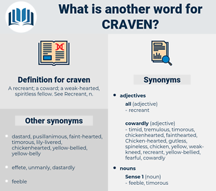 craven, synonym craven, another word for craven, words like craven, thesaurus craven
