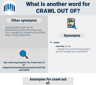 crawl out of, synonym crawl out of, another word for crawl out of, words like crawl out of, thesaurus crawl out of
