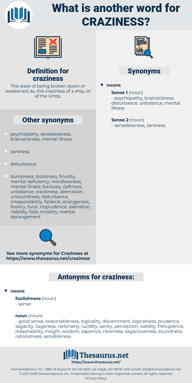 Synonyms for CRAZINESS, Antonyms for CRAZINESS - Thesaurus net