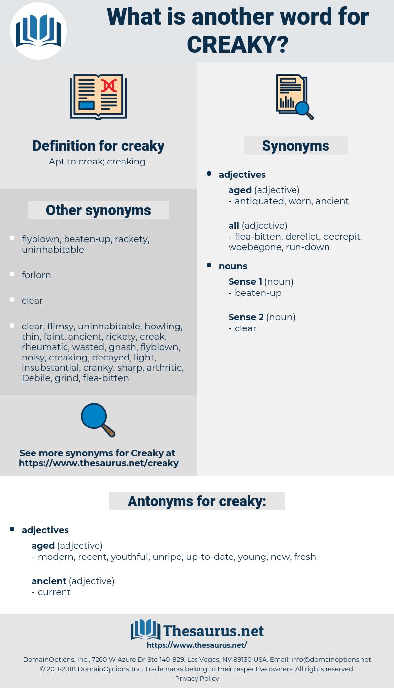 creaky, synonym creaky, another word for creaky, words like creaky, thesaurus creaky
