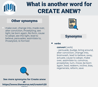 create anew, synonym create anew, another word for create anew, words like create anew, thesaurus create anew