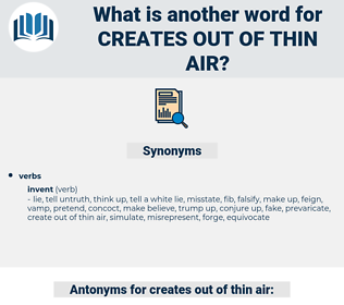 creates out of thin air, synonym creates out of thin air, another word for creates out of thin air, words like creates out of thin air, thesaurus creates out of thin air