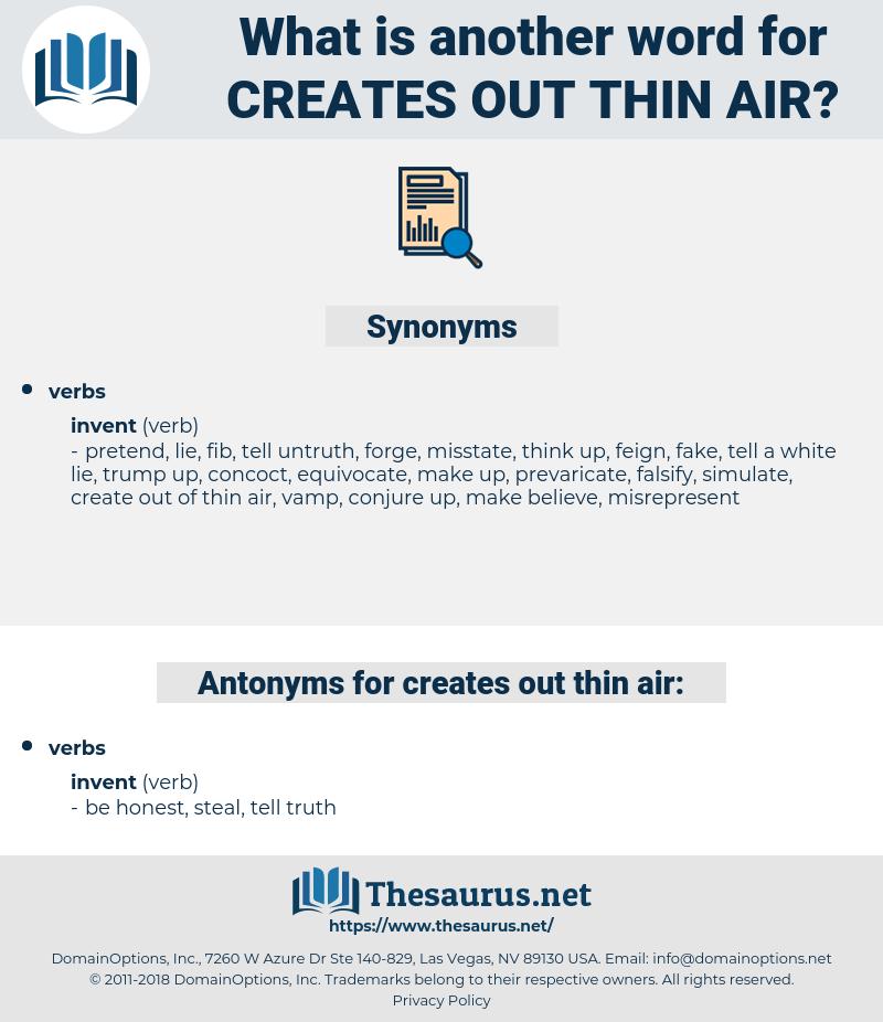 creates out thin air, synonym creates out thin air, another word for creates out thin air, words like creates out thin air, thesaurus creates out thin air