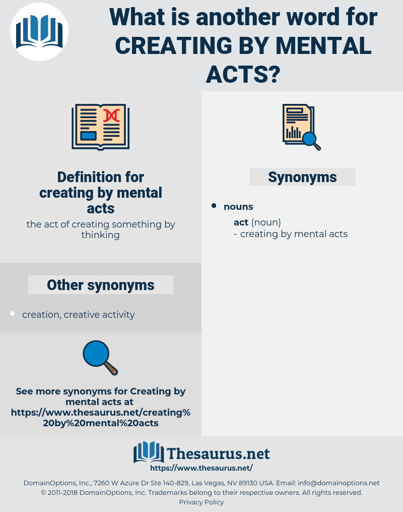 creating by mental acts, synonym creating by mental acts, another word for creating by mental acts, words like creating by mental acts, thesaurus creating by mental acts