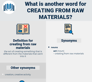 creating from raw materials, synonym creating from raw materials, another word for creating from raw materials, words like creating from raw materials, thesaurus creating from raw materials