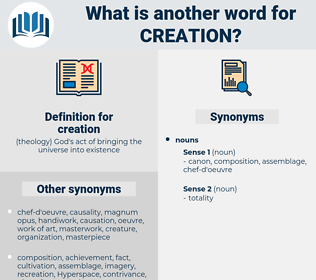 creation, synonym creation, another word for creation, words like creation, thesaurus creation