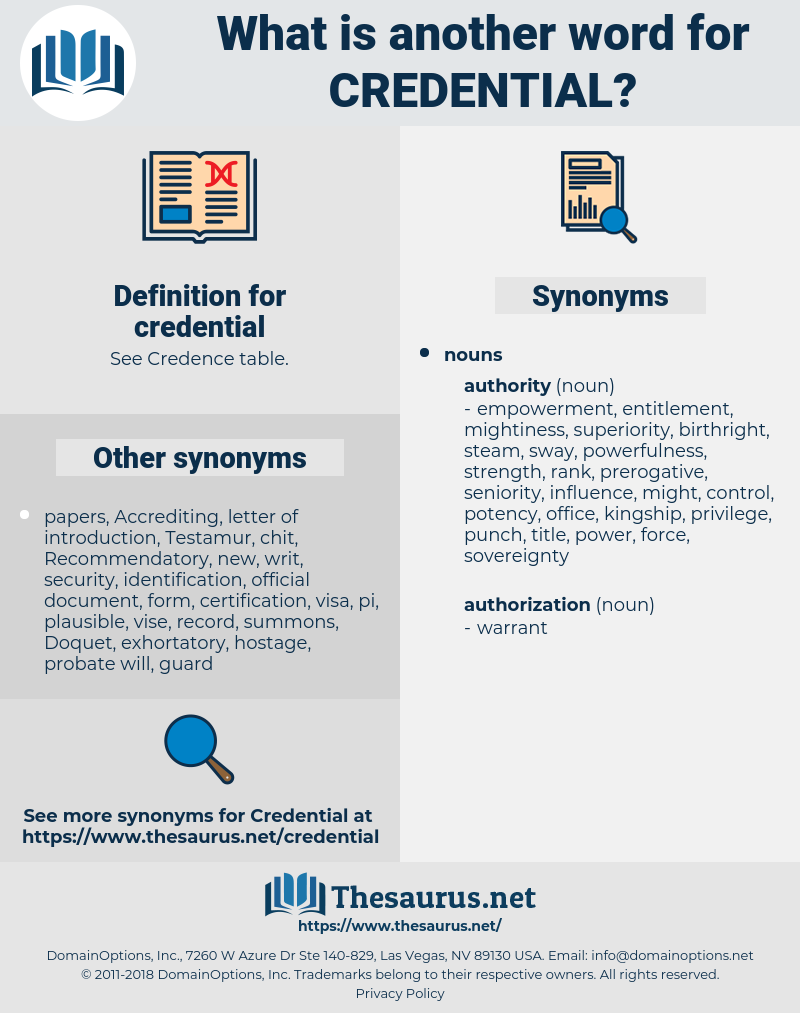credential, synonym credential, another word for credential, words like credential, thesaurus credential