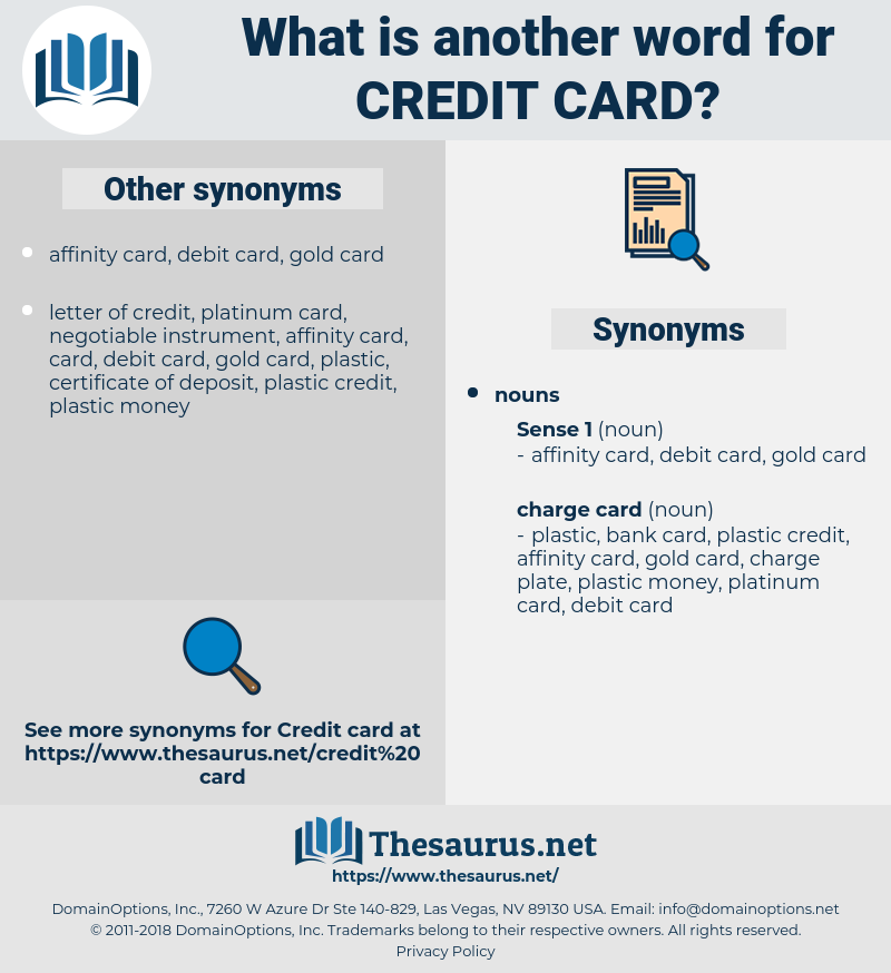 credit card, synonym credit card, another word for credit card, words like credit card, thesaurus credit card