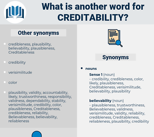 creditability, synonym creditability, another word for creditability, words like creditability, thesaurus creditability