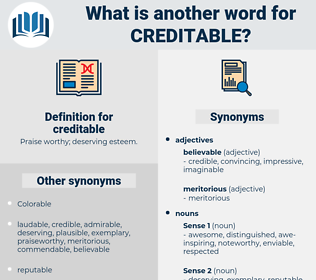 creditable, synonym creditable, another word for creditable, words like creditable, thesaurus creditable