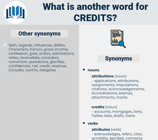 credits, synonym credits, another word for credits, words like credits, thesaurus credits