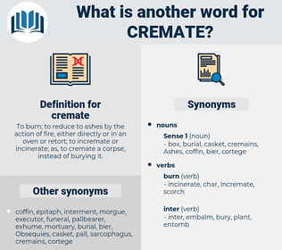 cremate, synonym cremate, another word for cremate, words like cremate, thesaurus cremate